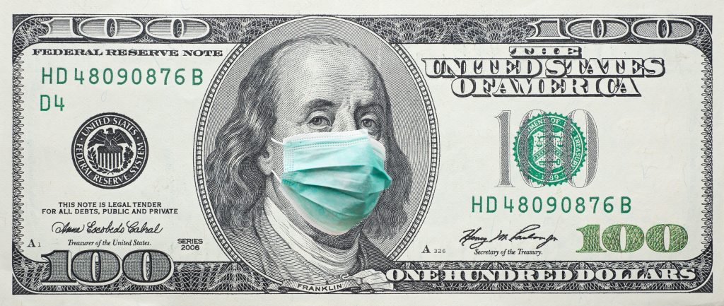 100 dollar bill with corona virus mask