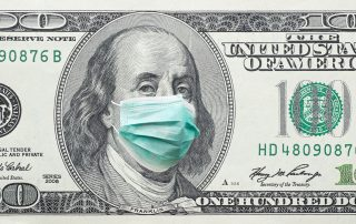 100 dollar bill with corona virus mask