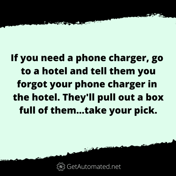 free phone charger hotel life hack