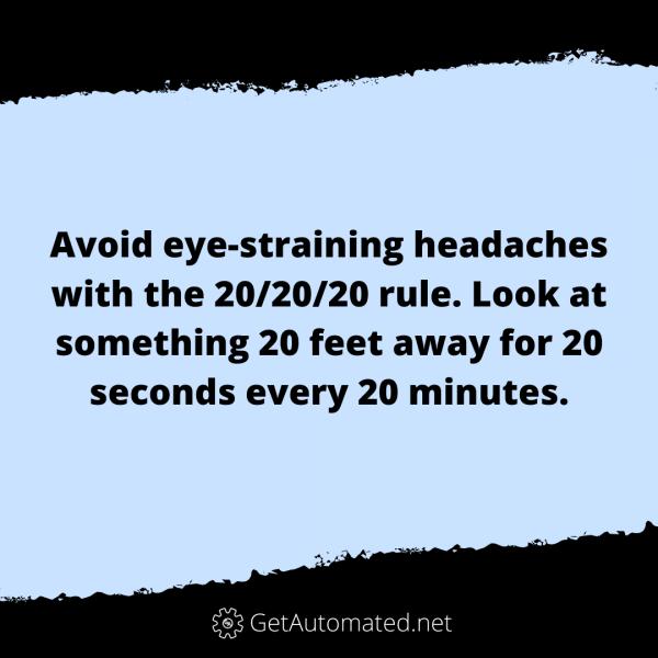 life hack 20-20-20 rule headache
