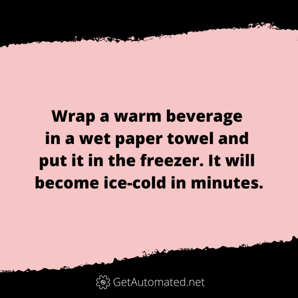 Cold beer in minutes life hack paper towel