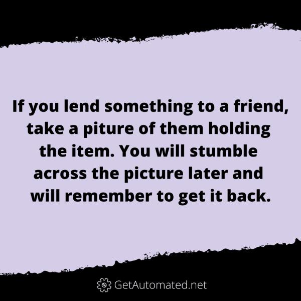 lending items remember life hack