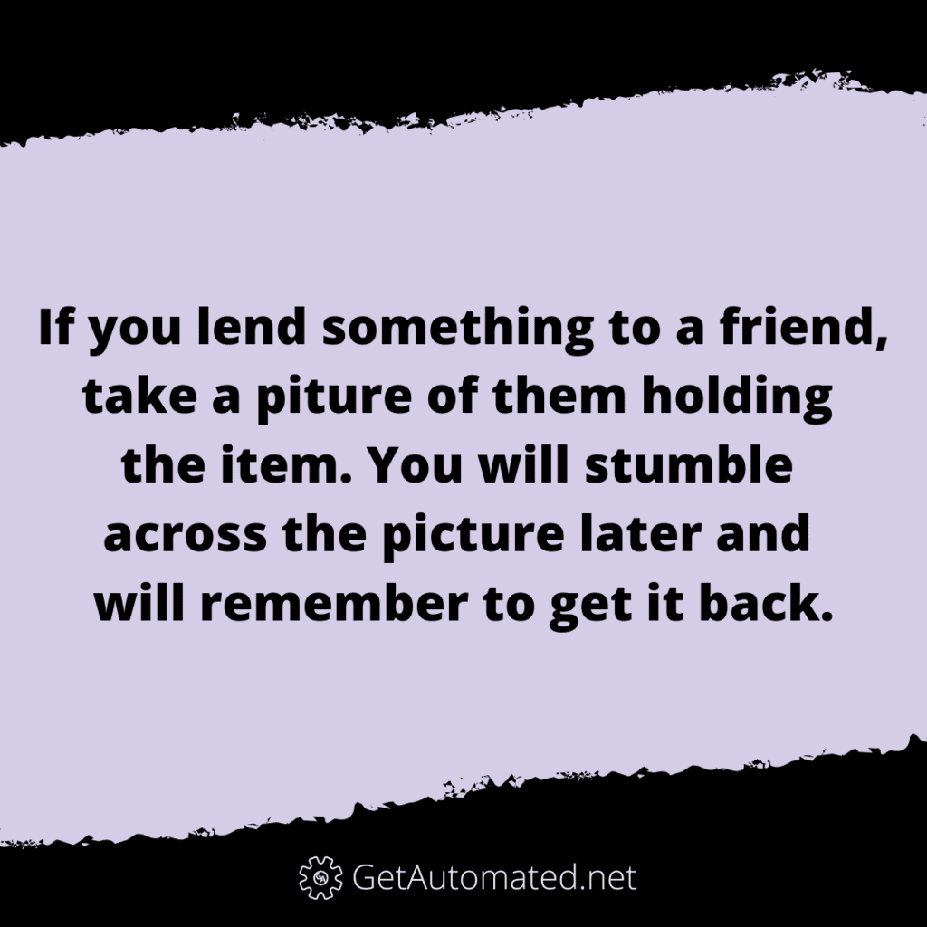 lending items remember life hack