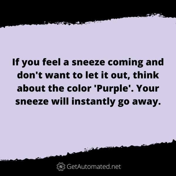 Prevent Sneeze Life Hack Purple