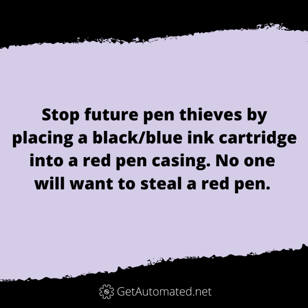 stop pen thieves life hack red pen