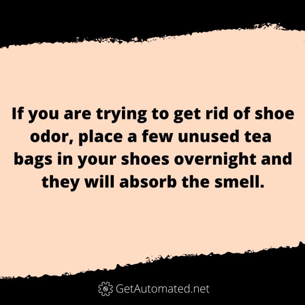 remove shoe odor tea bags life hack