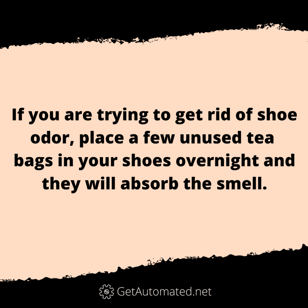 remove shoe odor tea bags life hack