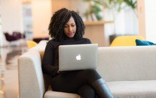 woman sending email