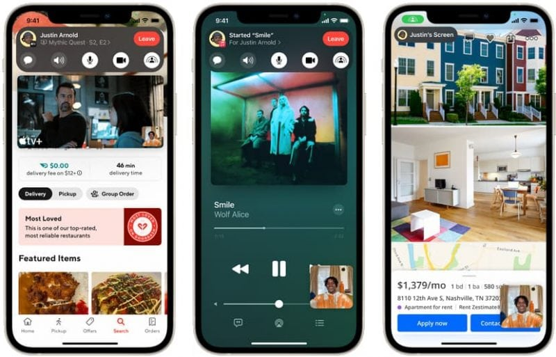 screenshot examples of iOS15's new FaceTime SharePlay feature