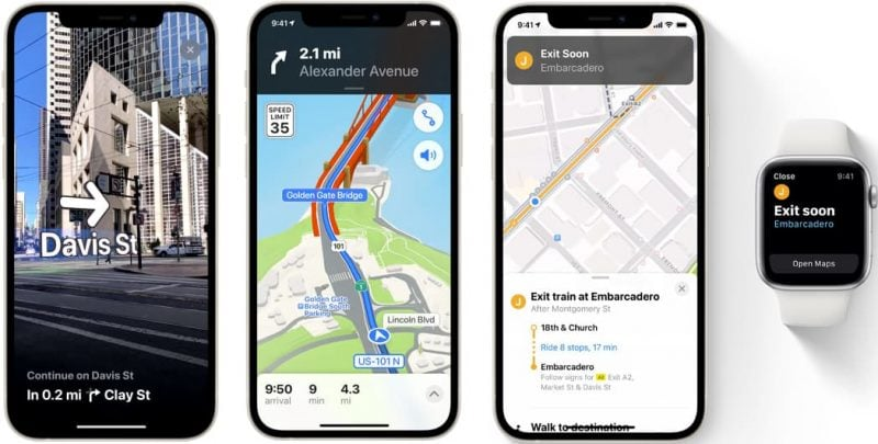 Screenshots of new Maps features of iOS 15, including new driving features, immersive walking instructions, and new transit features