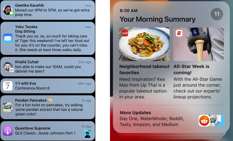 screenshots of the redesigned notifications in iOS 15
