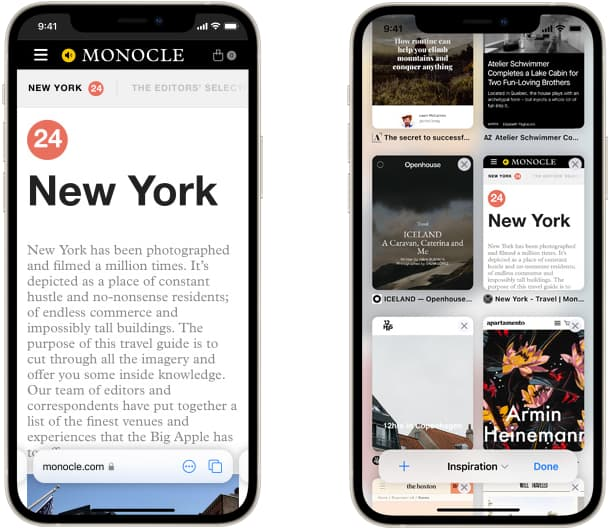 screenshots of new safari tab bar and tab groups in iOS 15
