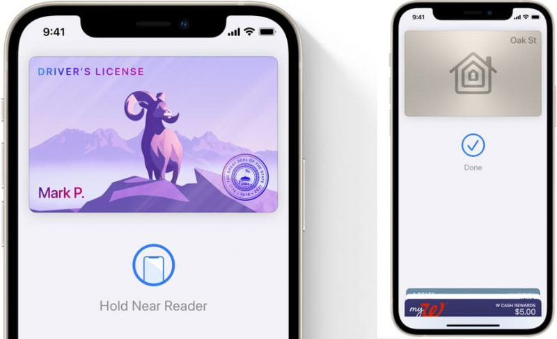 example screenshots of wallet id cards and keys in iOS 15
